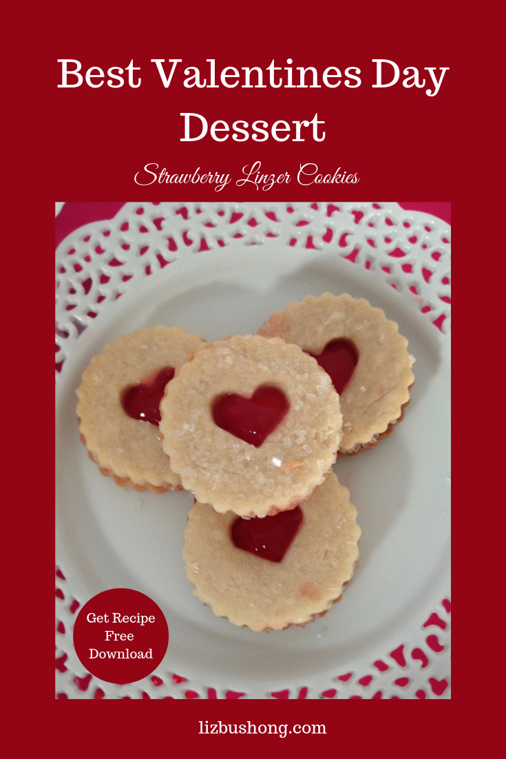 Valentines Day Strawberry Linzer Cookies-lizbushong.com