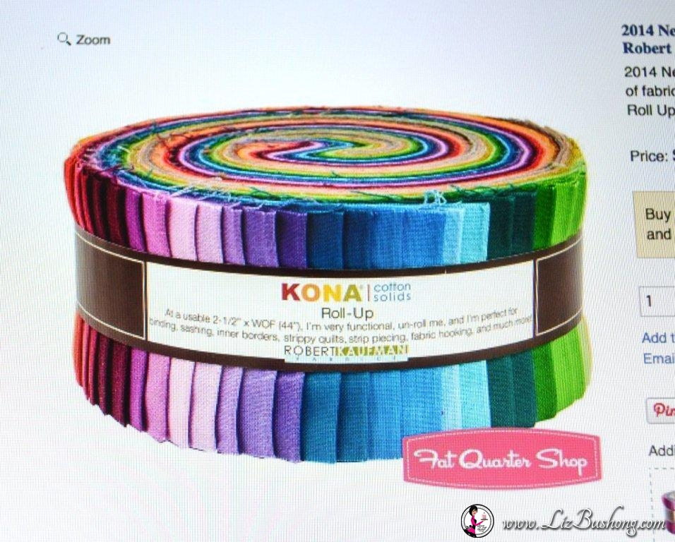 Kona Fabric solids jelly roll step1 .www.lizbushong.com