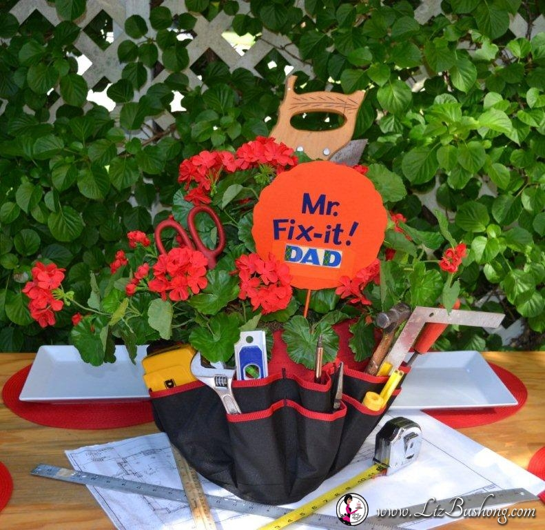 A Tool-Time Father's Day Lunch tablescape centerpiece www.lizbushong.com