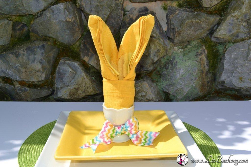 Bunny Ears napkin fold- finshed-www.lizbushong.com