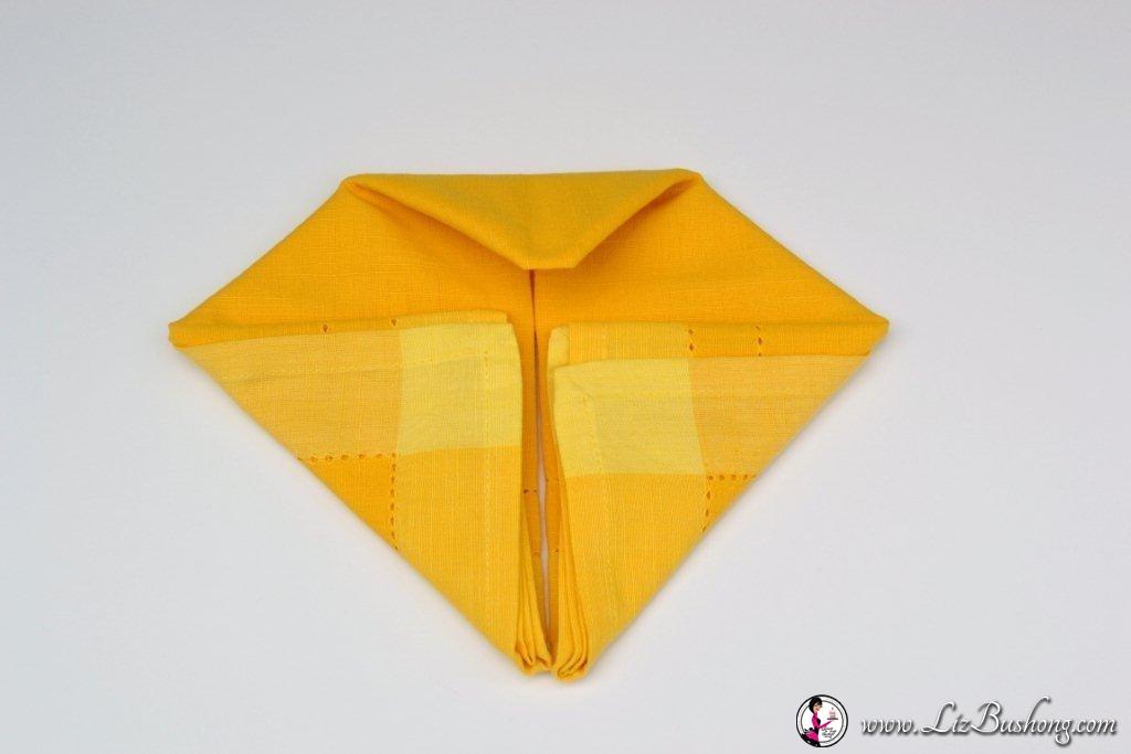 Bunny Ears napkin fold- step 12-www.lizbushong.com