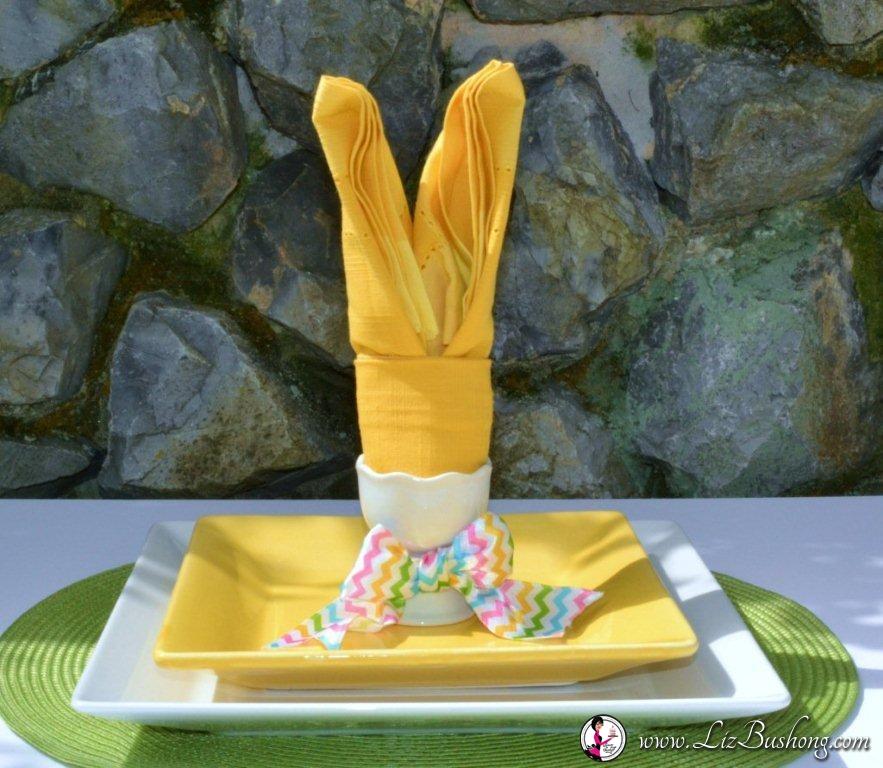 Bunny Ears napkin fold- step 20-www.lizbushong.com