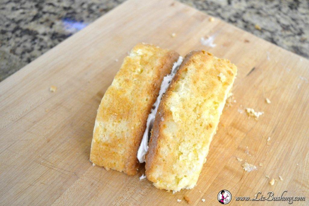 Easter Bunny Cake-frosting halves-www.lizbushong.com
