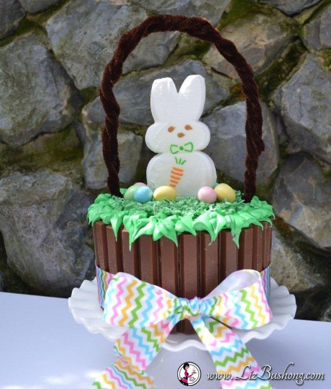 Easter Kit Kat Basket-frosted cake-www.lizbushong.com
