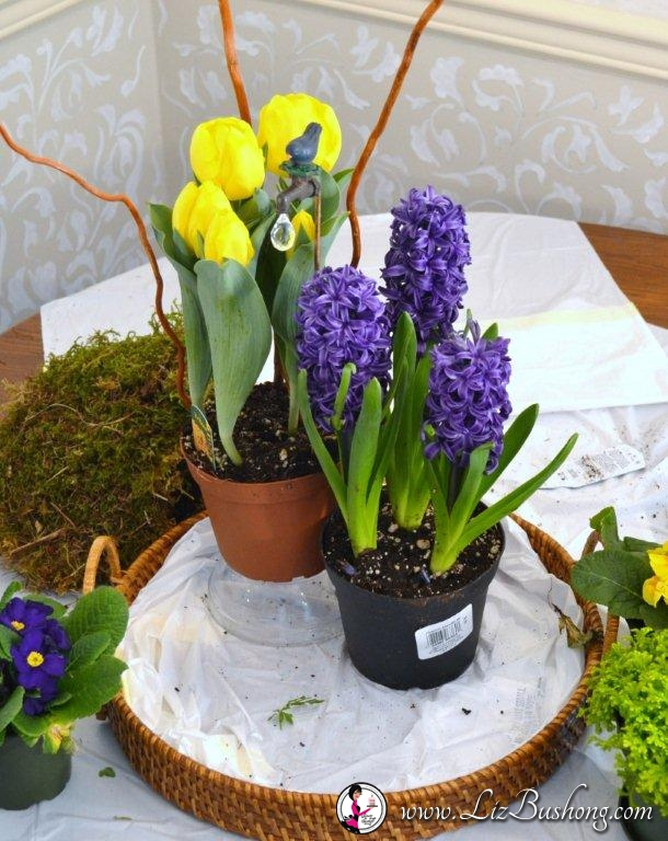 How to make Spring tabletop arrangement=www.lizbushong.com