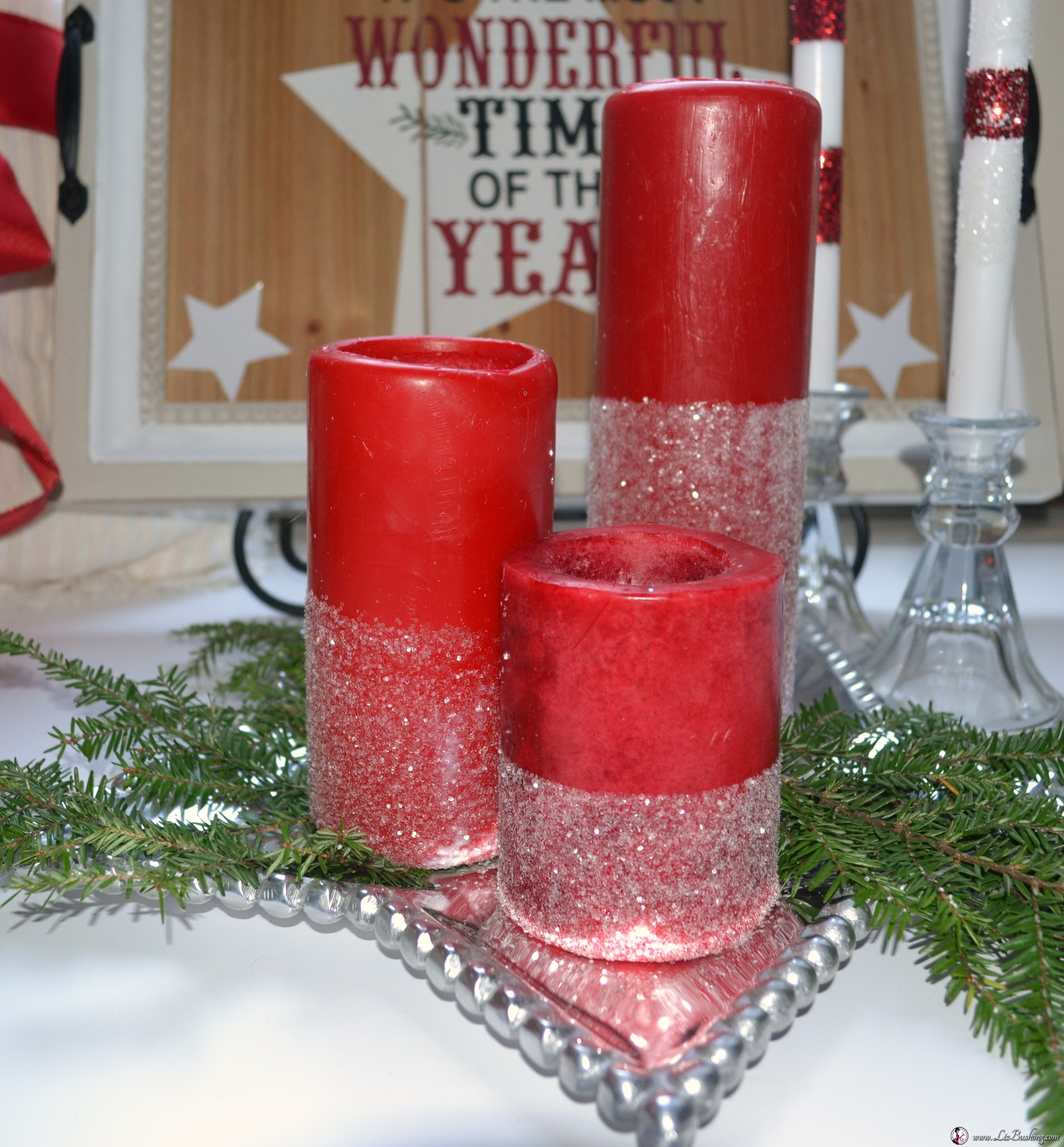 Christmas home decor ideas red candles lizbushong com for Christmas home decor 2016