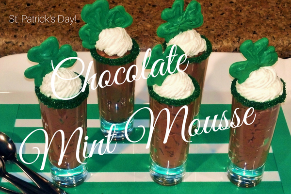 St. Patricks Day Chocolate Mousse Parfaits with Shamrock Candy