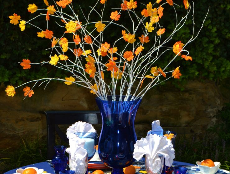 Fall Tablescape-orange cobalt blue-leaf centerpiece-lizbushong.com