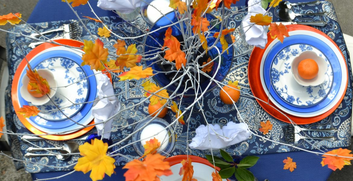 Fall Tablescape-orange cobalt blue-placesetting-lizbushong