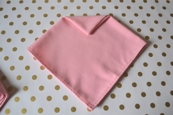 Arrow Dart Napkin-step 2 Fold-Best Pink and Gold tablesetting-lizbushong.com