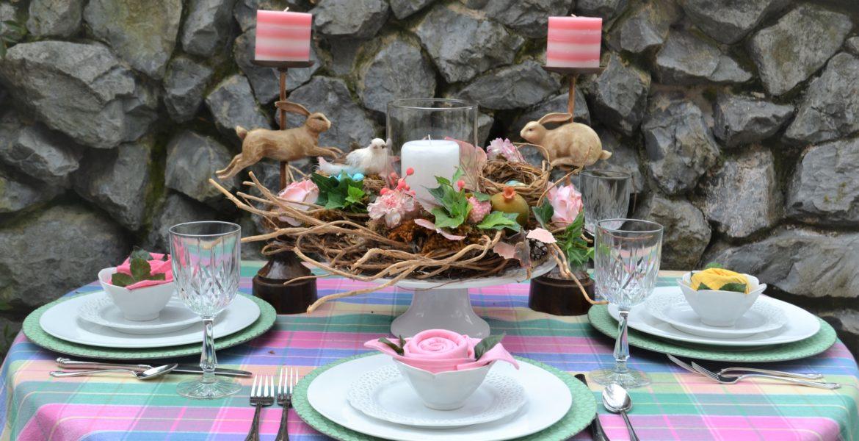 Easy Spring Tablescape Celebrate Spring- tablescape-lizbushong.com