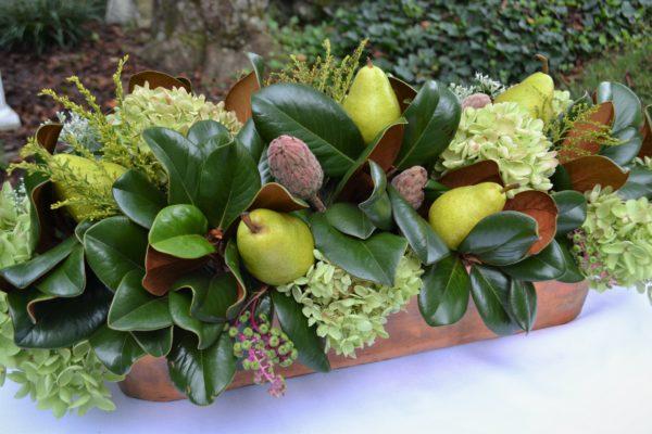 Copper & Bronze tablescape-centerpiece- hydrangea, pears, magnolia leaf-lizbushong.com