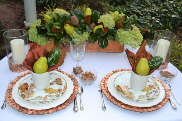 Copper & Bronze tablescape with copper arrangement-lizbushong.com