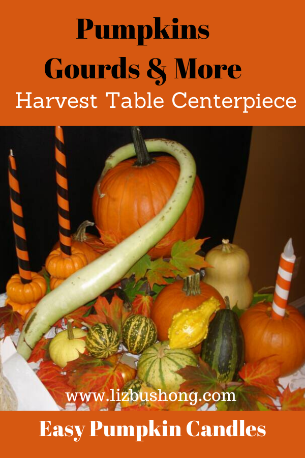 DIY Harvest Pumpkins, Gourds and Candle Table Scape
