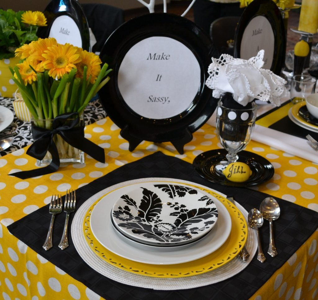 Black white yellow table placesetting at Relish Cooking Show lizbushong.com