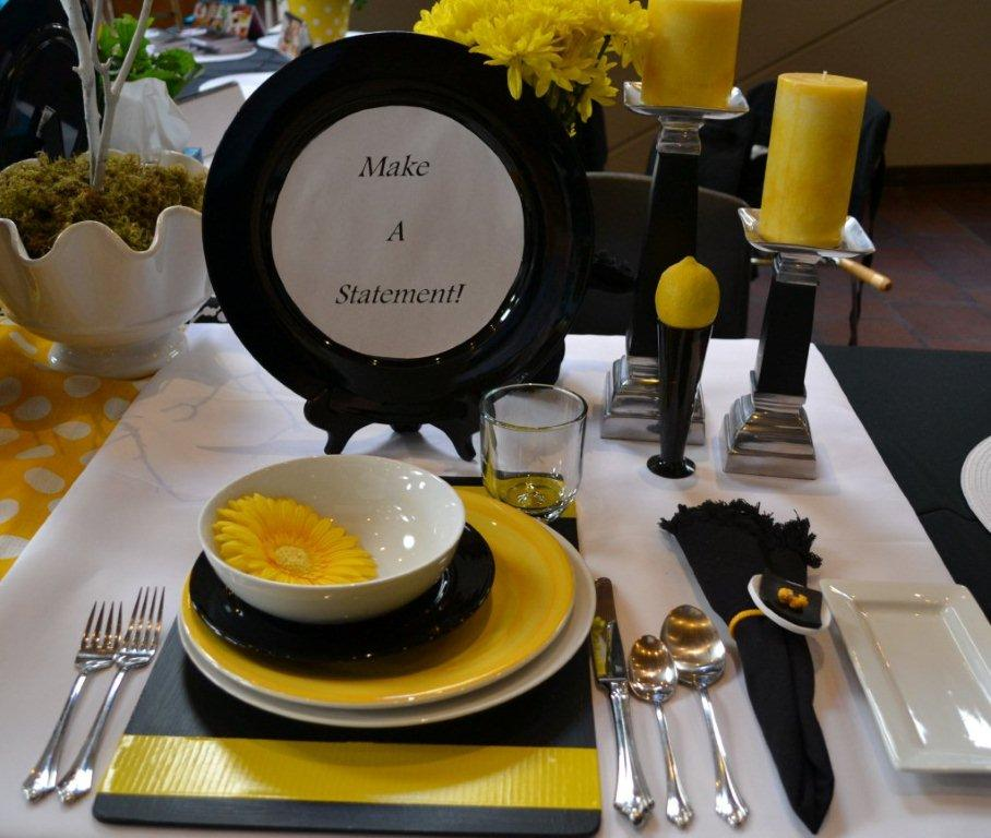 Black, white and yellow table setting idea for Relish Cooking Show lizbushong.com