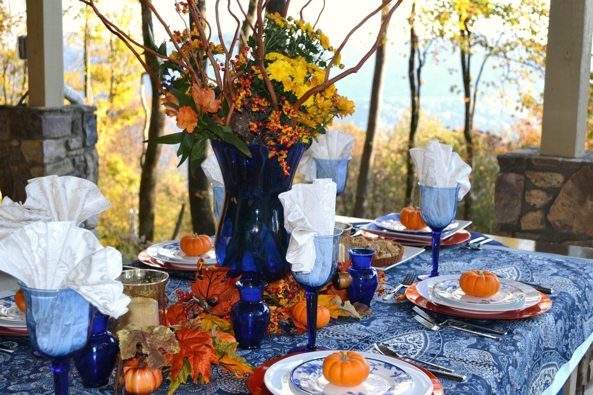 Cobalt Blue,Orange tablescape|www.serveitupsassy.com