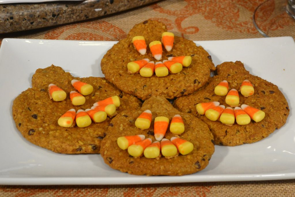 Pumpkin Cookies with Candy Corn