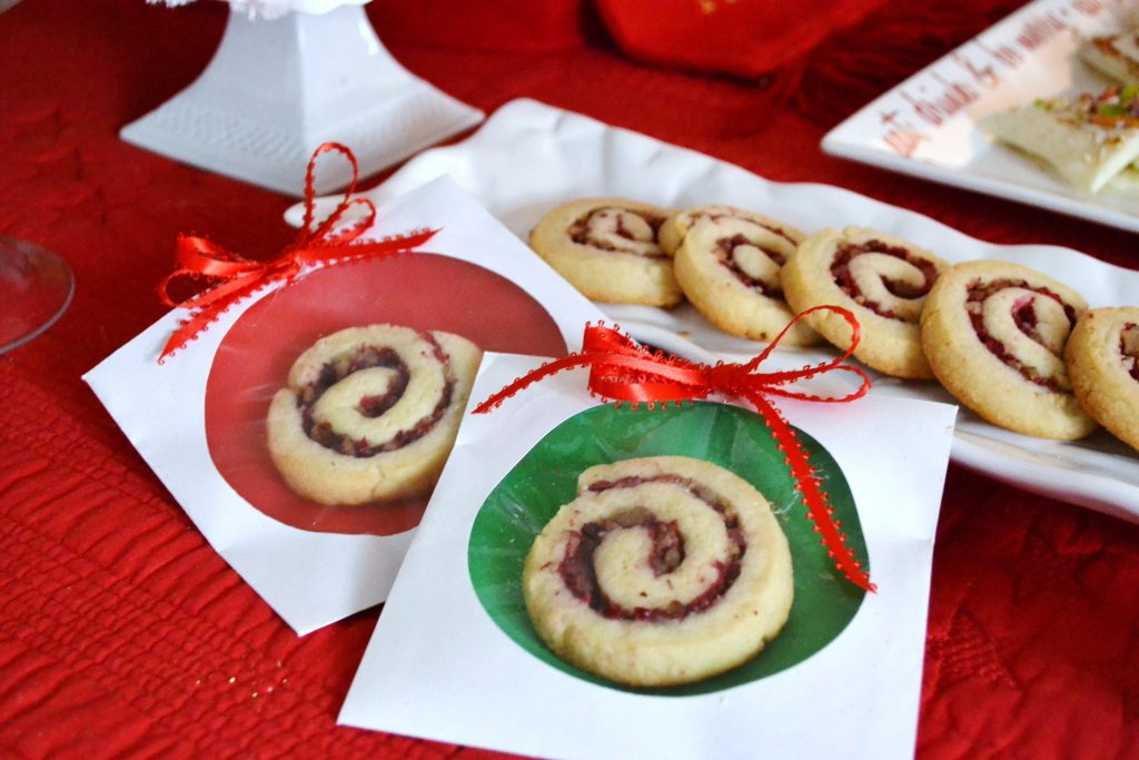 cranberry pinwheel cookies in wrappers