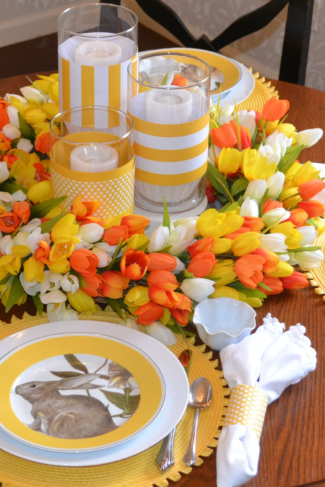 Playful bunnies on the yellow banded serve-ware, was the inspirational color scheme for this bright and cheery table.