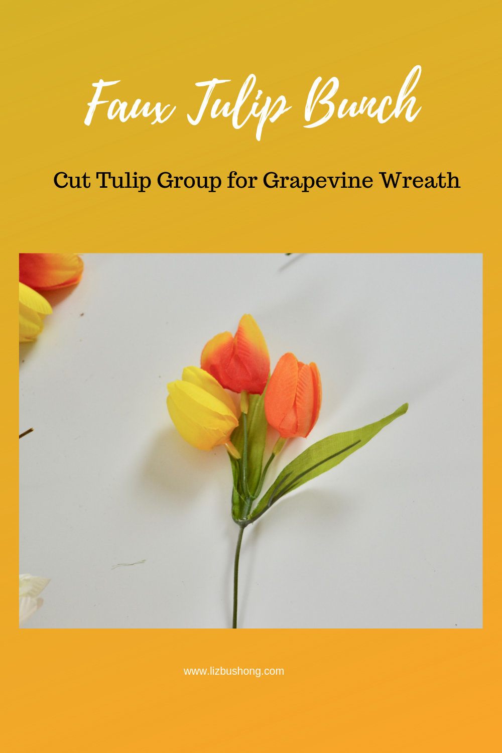 Faux Tulip Group Grapevine Wreath lizbushong.com