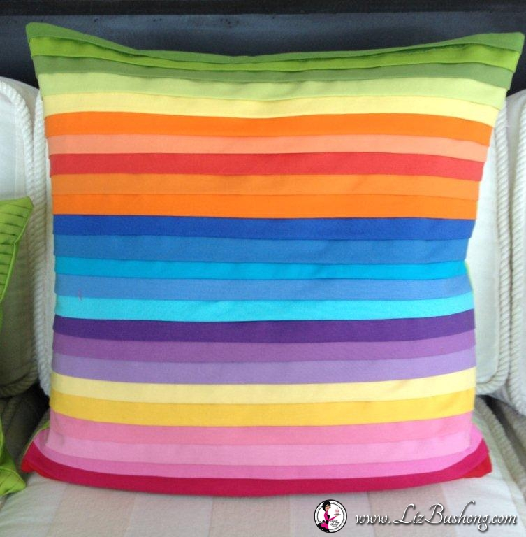 Neon faux pleated pillow finished