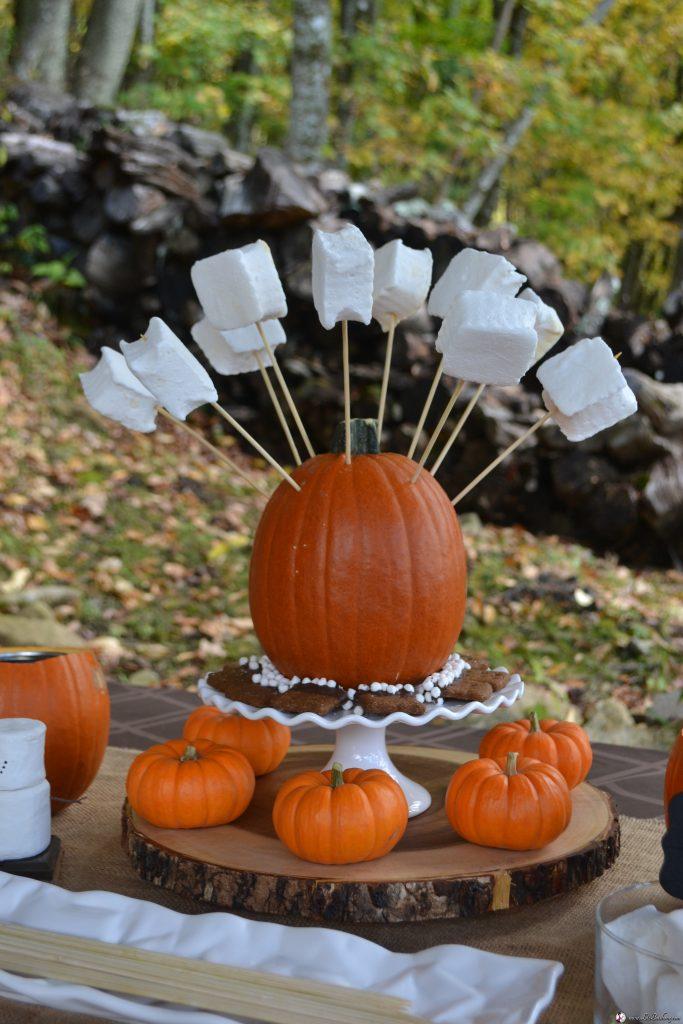 smore pumpkin dessert buffet:marshmallow centerpiece|www.lizbushong.com