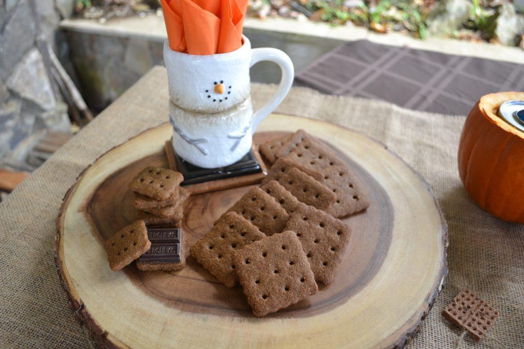 smore pumpkin dessert buffet:marshmallow centerpiece www.lizbushong.com