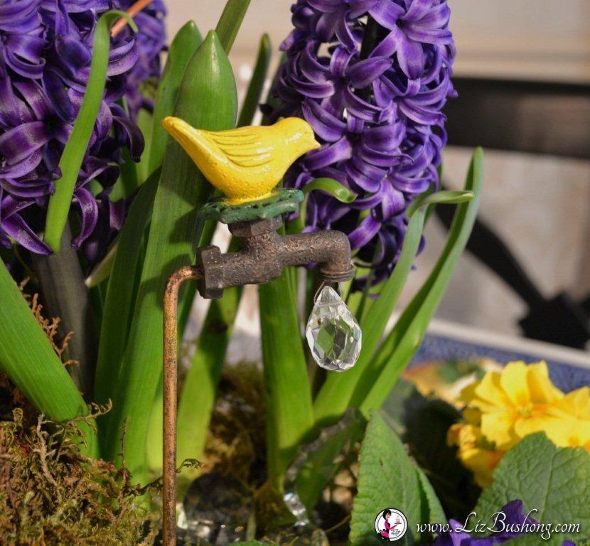 Spring table top arrangement -bird faucet-www.lizbushong.com