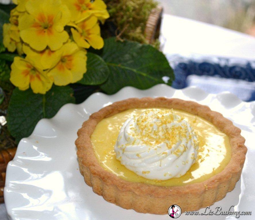 Lemon Almont Tart-white ruffled plate -wwwlizbushong.com