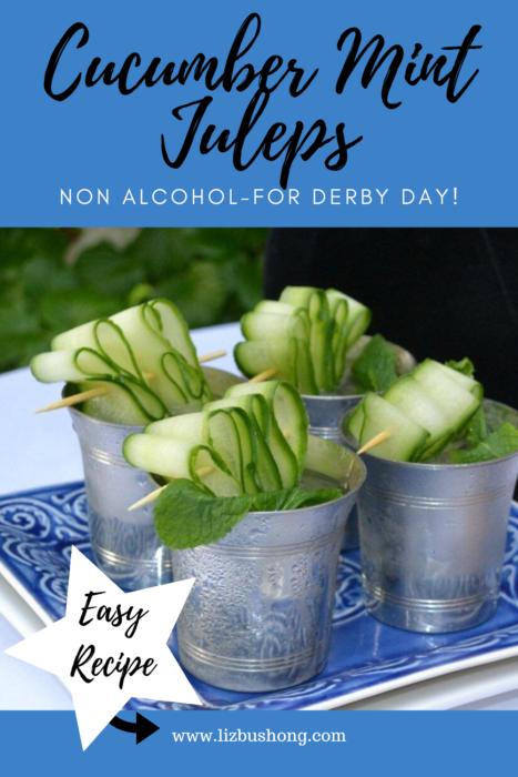 Kentucky Derby Recipes-Cucumber Mint Juleps lizbushong.com