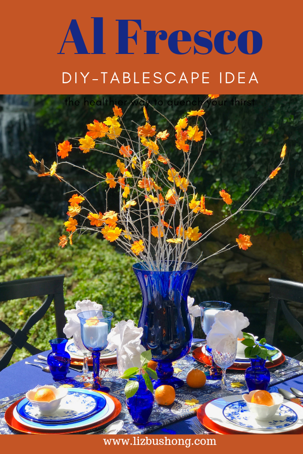 Cobalt & Orange Al Fresco Table setting lizbushong.com