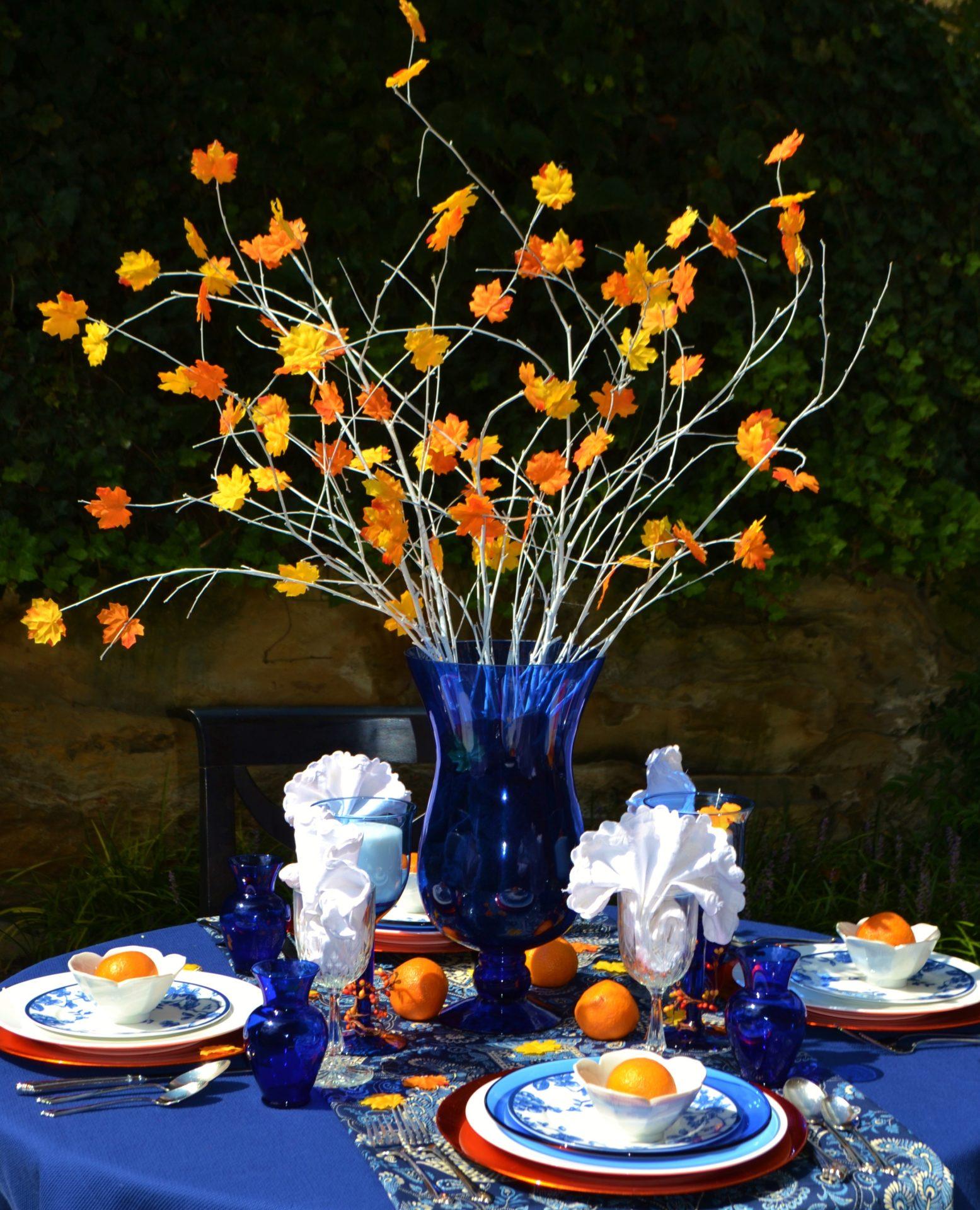 Fall Tablescape-orange cobalt blue-leaf centerpiece-lizbushong.com
