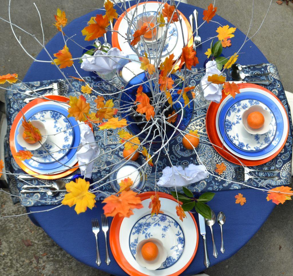 Fall Tablescape-orange cobalt blue-placesetting-lizbushong