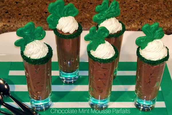 St. Patrick's Day-Chocolate Mint Mousse Parfaits