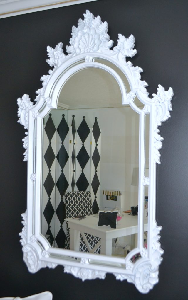 Hot Pink, Black White Office- Mirror