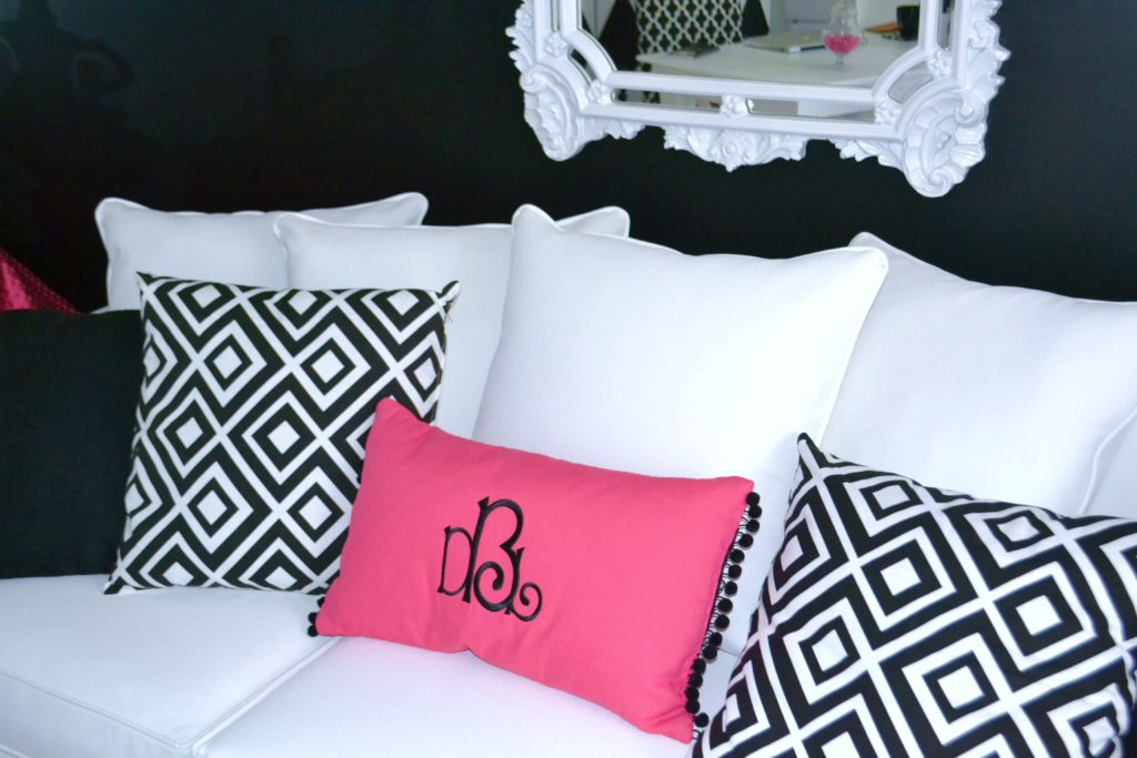 Hot Pink, Black White Office sofa