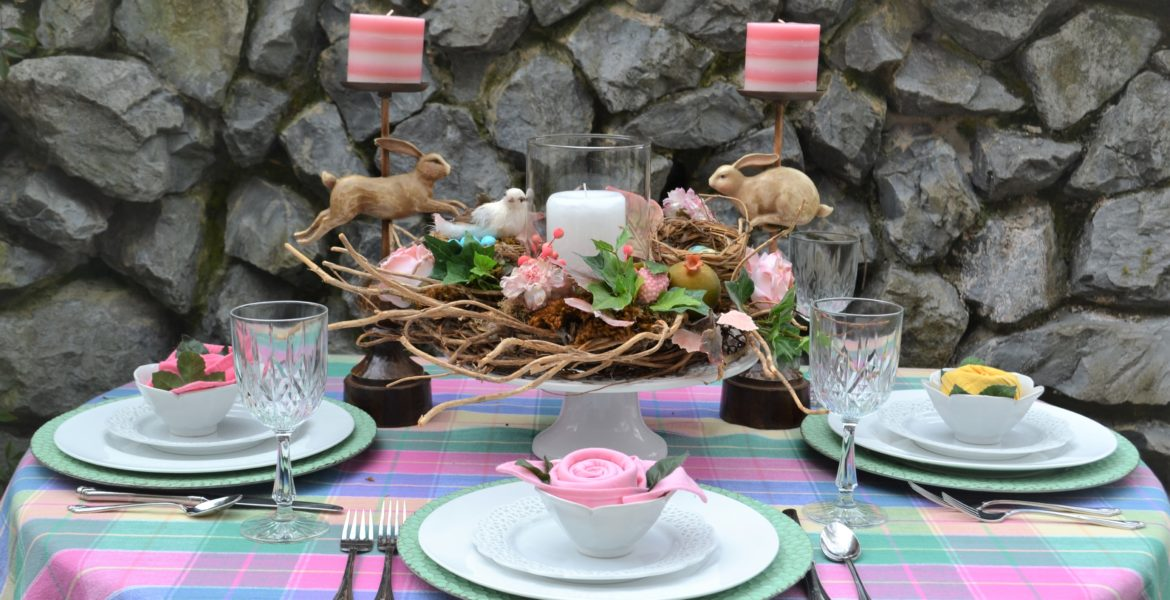 Easy Spring Tablescape Celebrate Spring- tablescape-lizbushong.com