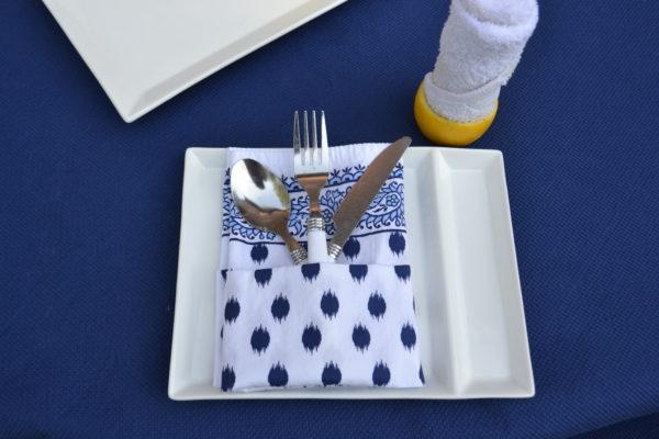 Navy & white napkin fold-lizbushong.com