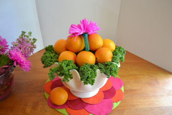 Fruit & Floral Centerpiece- Step 3- floral tubes with flower-lizbushong.com