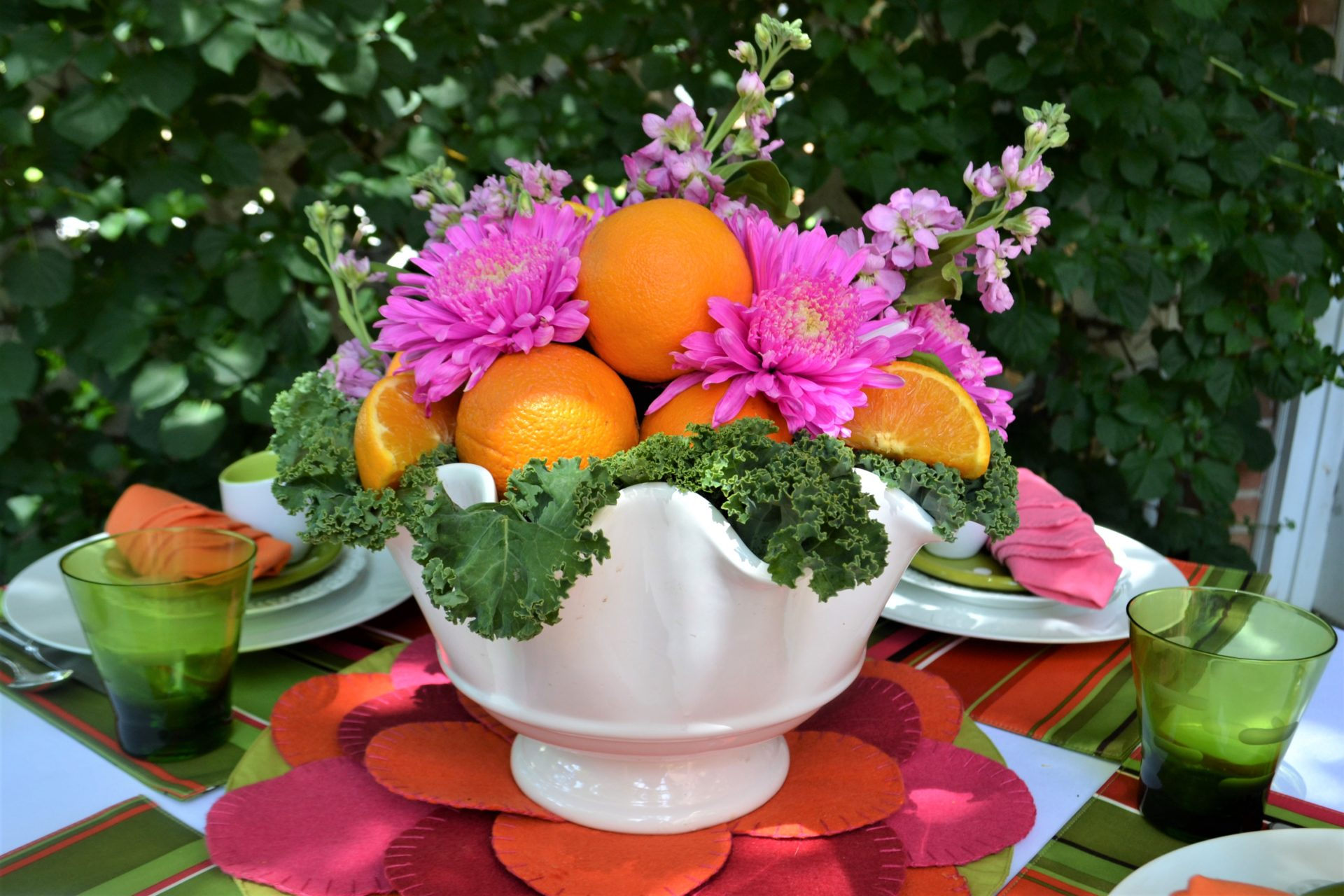 Fruit & Floral Centerpiece setting-lizbushong.com