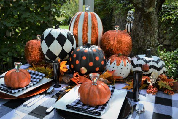 Painted Pumpkins Table Scape lizbushong.com