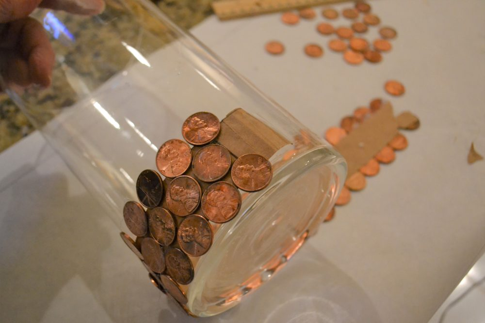 Copper & Bronze tablescape-pennies on paper band-lizbushong.com