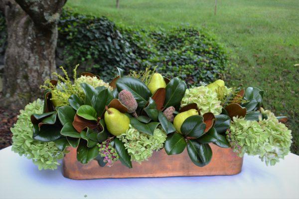 Copper & Bronze tablescape-centerpiece- hydrangea, pears, magnolia leaf-lizbushong.com -1
