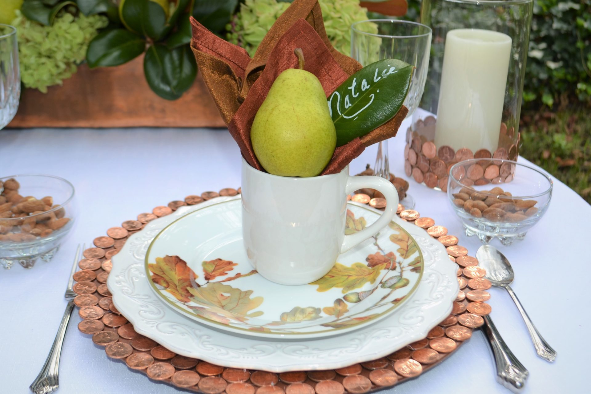 Copper & Bronze tablescape-copper placesetting-lizbushong.com