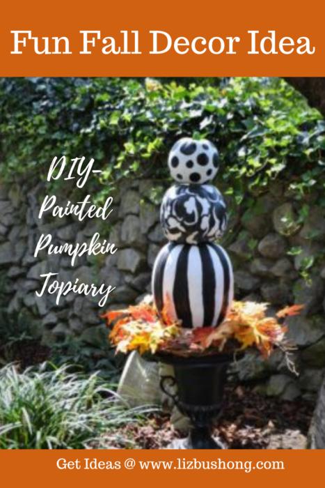 Fall Decor Idea- Pumpkin Topiary lizbushong.com