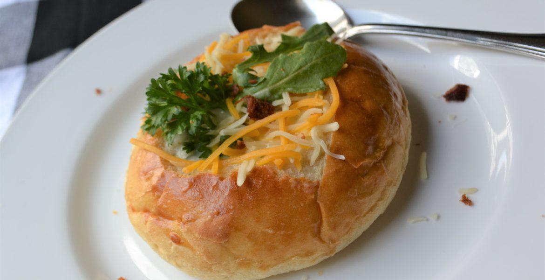 Chicken Mushroom Soup in Edible Bread Bowl lizbushong. com.jpg