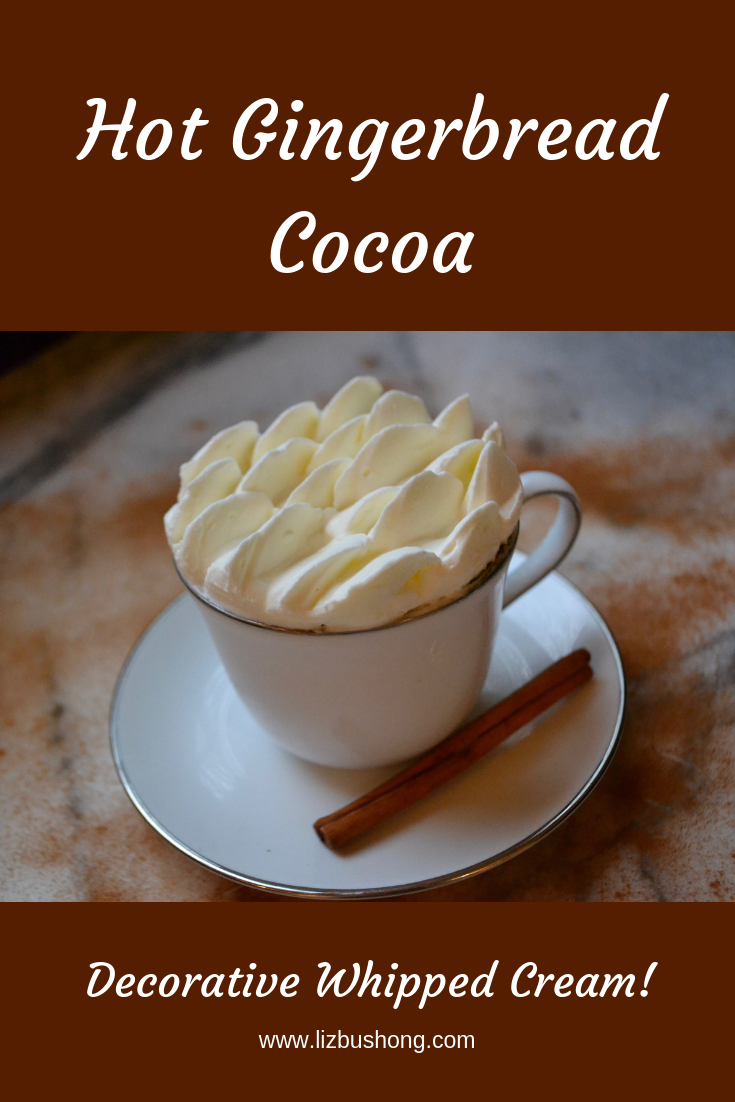 Hot Gingerbread Cocoa- Decorative Whipped Cream graphic-lizbushong.com