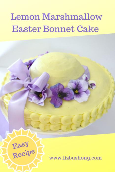 Lemon Marshmallow Easter Bonnet Cake lizbushong.com