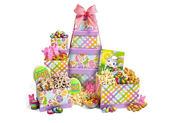 "orange, green and yellow are perfect for Easter. Pile small candies in individual printed ""cups"" to keep them from spilling, and nestle each type of candy in the grass."